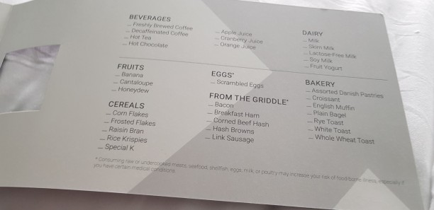 Room Service Breakfasr Order Form